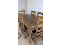 Beautiful Solid Oak Dining Table & 6 Solid Oak Dining Chairs (Reclaimed Wood - Handmade) - Used