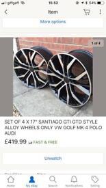 Set of 4x 17 inch santiaggo gti gtd style alloy wheels, golf, polo, Audi