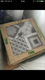 Grey patterned tiles - 5 boxes