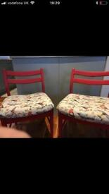 2 Annie Sloan reupholstered chairs