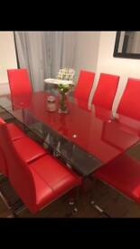 8 Seater Extending Red/Clear Glass Dining Table