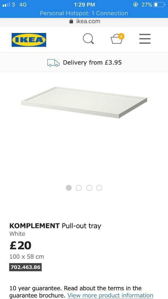 IKEA komplement glass drawer, tray, trouser rack and 2x poles   in Holborn,  London   Gumtree