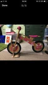 Balance bike - wooden in excellent condition