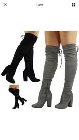 Size 3 black knee high boots