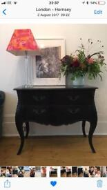 Beautiful black marble top Louis style side cabinet & drawers