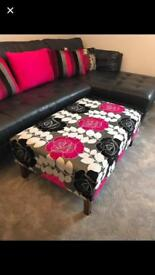 Large footstool and matching cushions
