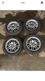 FORD FOCUS 15 INCH ALLOY WHEELS WITH TYRES ALLOYS SET 6Jx15 H2 ET52.5 TYRES: 195/60 15