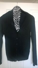 lovely black cardigan with scarf set