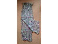 Ladies pretty hip/head/neck scarf, 142cm x 24cm, 95% viscose5% lurex, clean, worn one or twice only