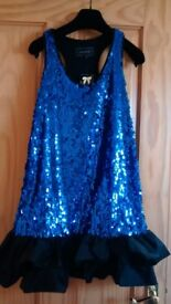 Blue sequin River island short dress new tags size 6- 8.£15 Loose fit party ballroom latin dancing