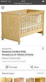 cotbed , wardrobe and changing unit , changing topper for cot