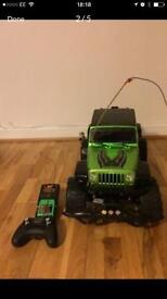 Green remote control monster car with charger