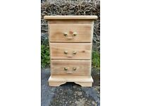 solid pine three draw cupboard, upcycled, tidy and ready to use. one off