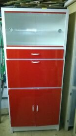 Vintage Retro 50s/60s Kitchen Larder unit – Red/White - Beach hut.