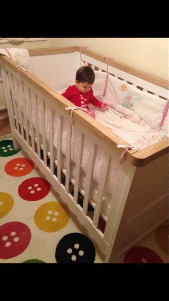 Like New Mothercare Cot Bed And Pocket Sprung Memory Foam Mattress