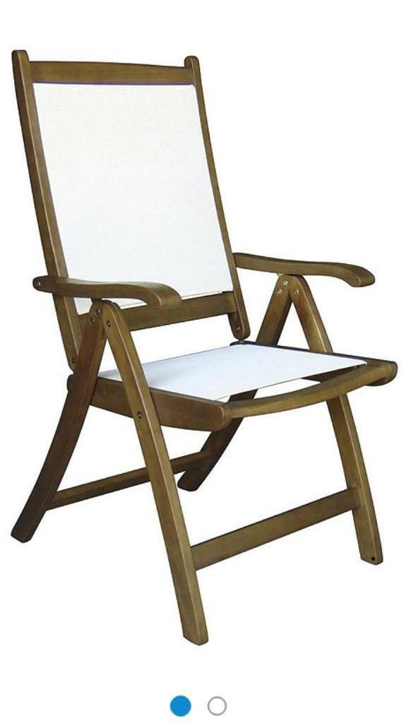 2 Windsor Reclining Garden Dining Chairs Wood Fabric Outdoor Tabel Used