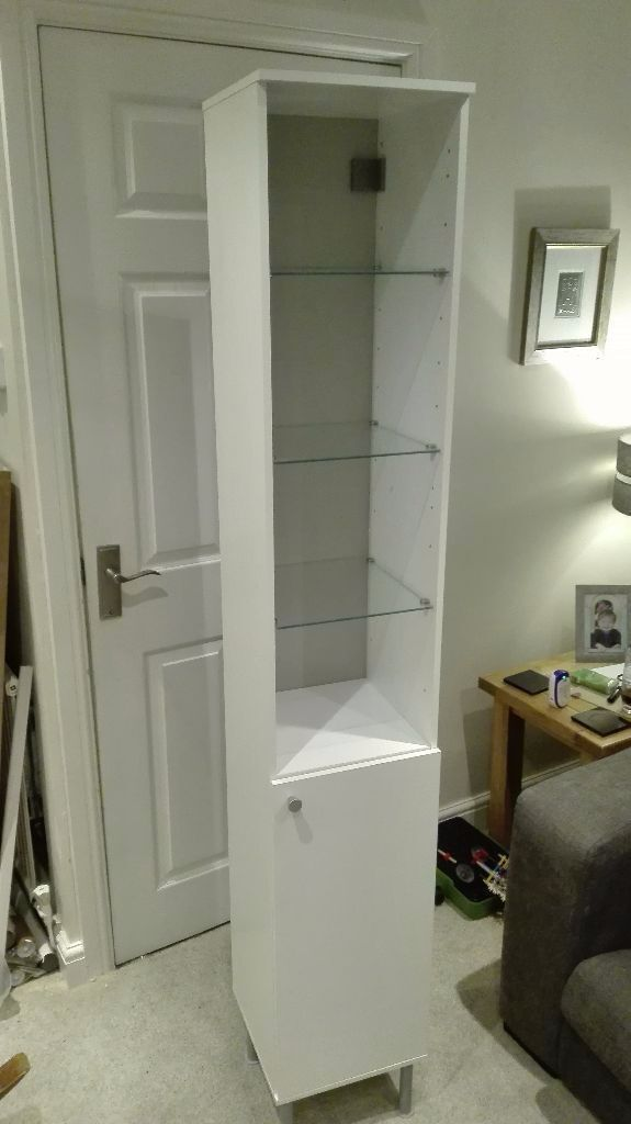 ikea fullen tall white bathroom cabinet with cupboard glass