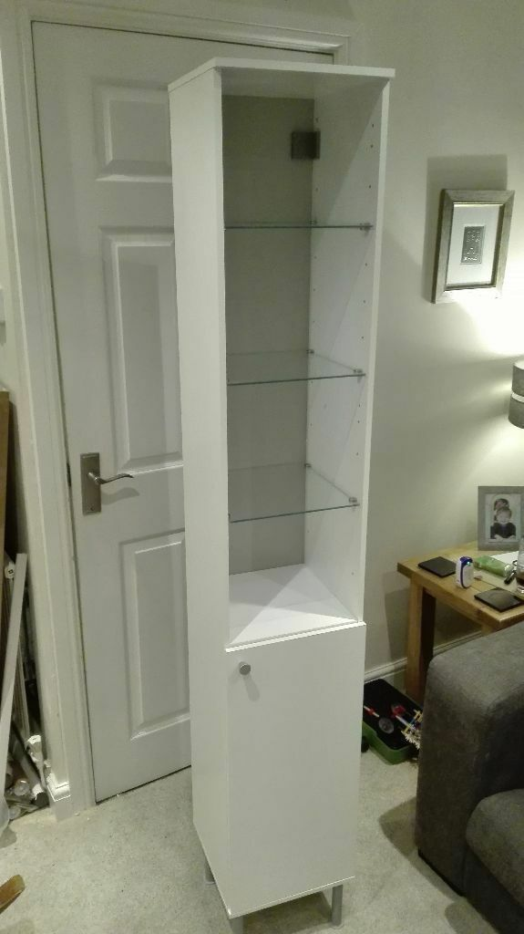 Ikea fullen tall white bathroom cabinet with cupboard for Bathroom cabinets gumtree