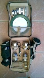 "A Brand New Two Person, Green Picnic Backpack 16 x 11"" As Pictured."