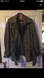 Grey womens military style coat