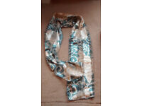 Ladies silk feel scarf/shawl for hip tie, neck or head tie, cream rose and blue colours, immaculate