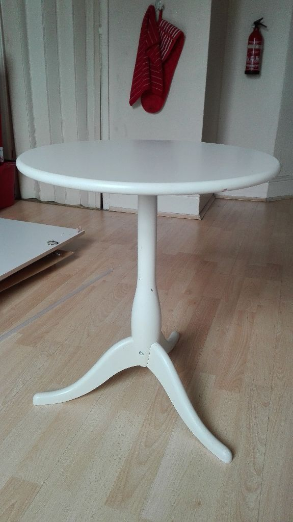 Ikea Dalom Superb Wooden White Round Occasional Side Telephone Table
