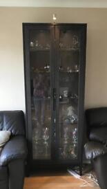 Black wood glass display cabinet