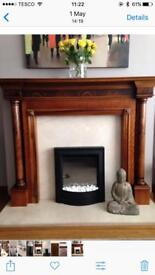 Polished finish wooden fire surround