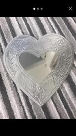 Silver embossed love heart mirror