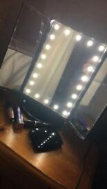 LED trifold makeup mirror