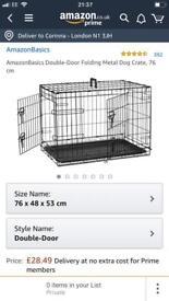 Amazon basic dog crate, black
