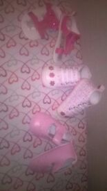 In The Pink - x 3 Pairs of BRAND NEW Baby/Pram Shoes 0-6 months