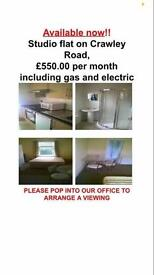 Studio flat gas electric and water included
