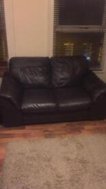 Brown Leather DFS Sofas two seater (pair)