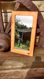 Mirror with pine frame, 50cm x 30.5cm, good condition, Porthtowan