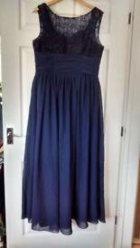 Long elegant navy dress Prom Christmas Evening Party. UK 16 - 18