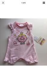 Little Miss My First pink striped white romper suit outfit new with tags size newborn