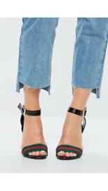 Green and red stripe heels size 6 NEW