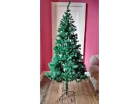 7 foot Xmas tree, 9M white tree lights, 8 functions, approx 3 dozen baubles pink/purple/teal