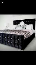 Crushed velvet Monaco bed