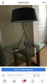 Pair of black and chrome lamps