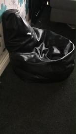 Bean bag chair black leather