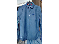 Men's blue, long sleeve Superdry shirt, size Small
