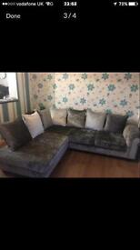 REDUCED!! SOFOLOGY CRUSHED VELVET CORNER SOFA RETAIL £2500