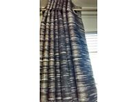 2 Pairs Of Brand New Made To Measure Eyelet Black Out Curtains In Black, Silver & Gold