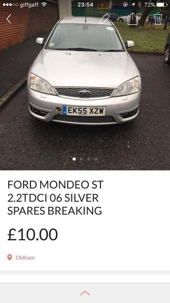 Ford mondeo st 220tdci silver 56 spares breaking EC