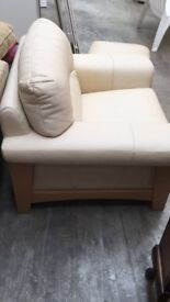 2 beautiful soft leather cream armchairs and stool