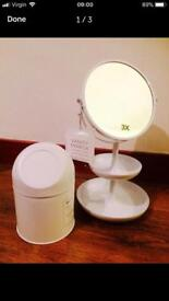 Brand new vanity mirror double sided & cosmetic bin