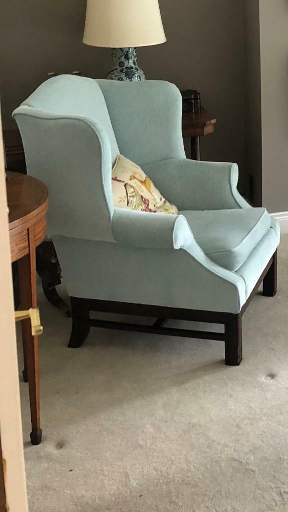 Laura Ashley Wing Back Armchair Chair Reupholstered