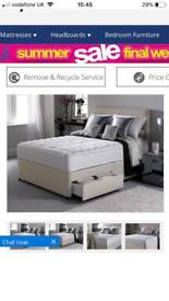Double silentnight divan bed with drawers / headboard and orthopaedic mattress
